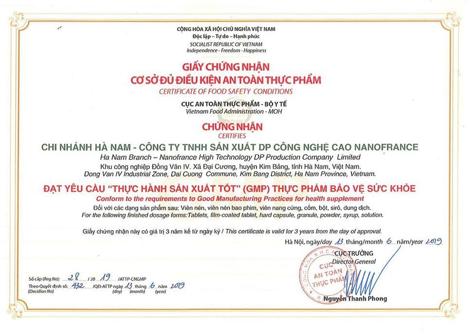 Giấy chứng nhận nhà máy sản xuất đạt chuẩn GMP-WHO do Bộ Y Tế cấp phép